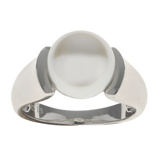 Pearls for You Sterling Silver 10- to 10.5-millimeter White Freshwater Button Pearl Ring