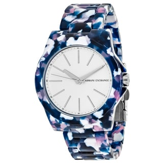 Armani Exchange Women's AX4335 Multicolor Round White dial Acetate bracelet Watch