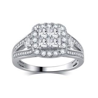 Divina 14k White Gold 1 1/4ct TDW Diamond Bridal Ring