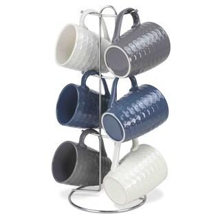 Home Basics 6-piece Mug Set With Mug Tree (Assorted Designs)
