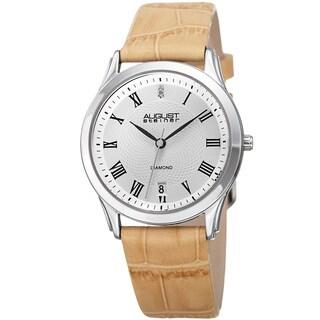 August Steiner Women's Quartz Diamond Easy-to-Read Leather Beige Strap Watch