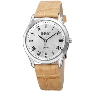 August Steiner Women's Quartz Diamond Easy-to-Read Leather Beige Strap Watch with FREE Bangle