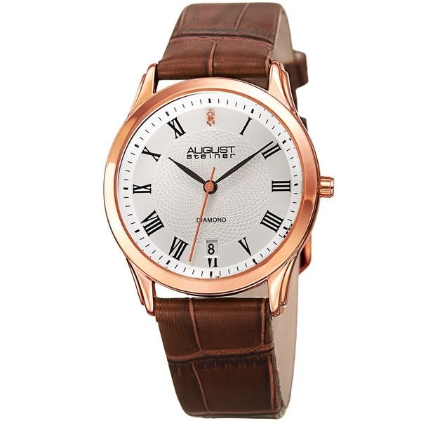 August Steiner Women's Quartz Diamond Easy-to-Read Leather Brown Strap Watch