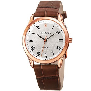 August Steiner Women's Quartz Diamond Easy-to-Read Leather Brown Strap Watch with FREE GIFT