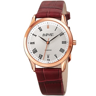 August Steiner Women's Quartz Diamond Easy-to-Read Leather Red Strap Watch