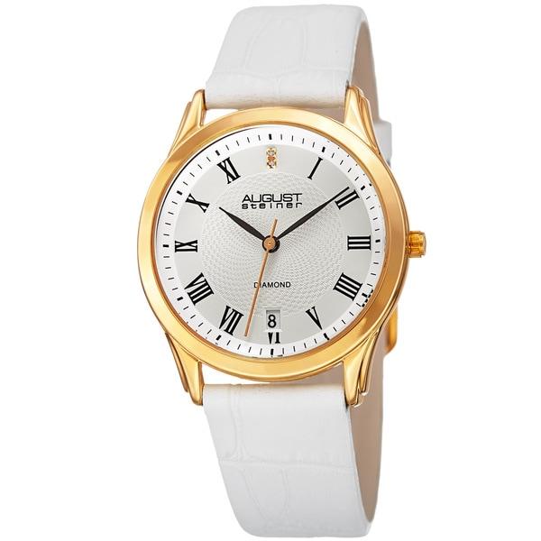 August Steiner Women's Quartz Diamond Easy-to-Read Leather White Strap Watch