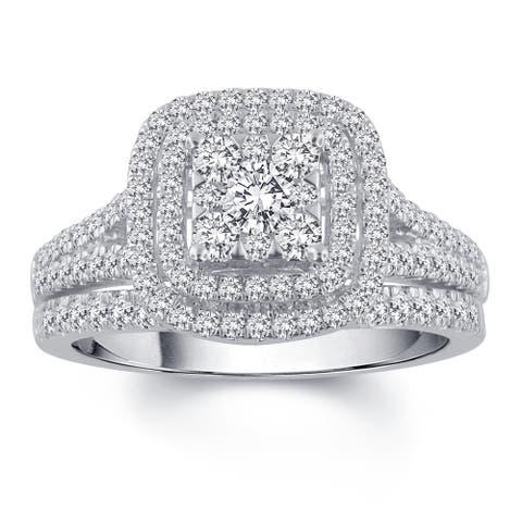 Divina 10k White Gold 1ct TDW Diamond Bridal Set (H-I, I2-I3)