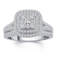 Divina 10k White Gold 1ct TDW Diamond Bridal Set (H-I, I2-I3)