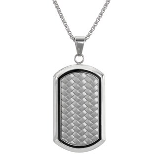 Men's Two-Tone Stainless Steel Woven Dog Tag Pendant Necklace