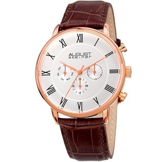 August Steiner Men's Swiss Quartz Multifunction Dual-Time Leather Brown Strap Watch