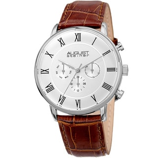 August Steiner Men's Swiss Quartz Multifunction Dual-Time Leather Silver-Tone Strap Watch