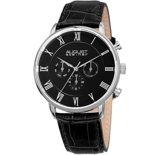 August Steiner Men's Swiss Quartz Multifunction Dual-Time Leather Black Strap Watch