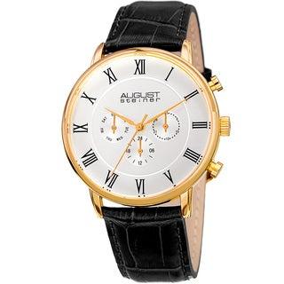 August Steiner Men's Swiss Quartz Multifunction Dual-Time Leather Gold-Tone Strap Watch