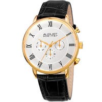 August Steiner Men's Swiss Quartz Multifunction Dual-Time Leather Gold-Tone Strap Watch