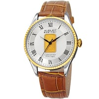 August Steiner Men's Quartz Luxury Gold Leather Brown Strap Watch