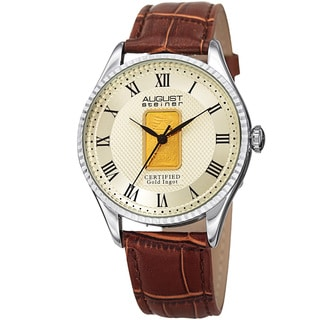 August Steiner Men's Quartz Luxury Gold Leather Silver-Tone Strap Watch