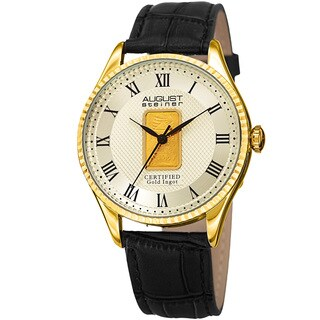 August Steiner Men's Quartz Luxury Gold Leather Gold-Tone Strap Watch