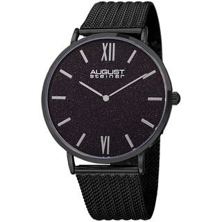 August Steiner Men's Quartz Easy-to-Read Stainless Steel Black Bracelet Watch