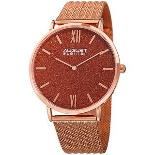 August Steiner Men's Quartz Easy-to-Read Stainless Steel Rose-Tone Bracelet Watch
