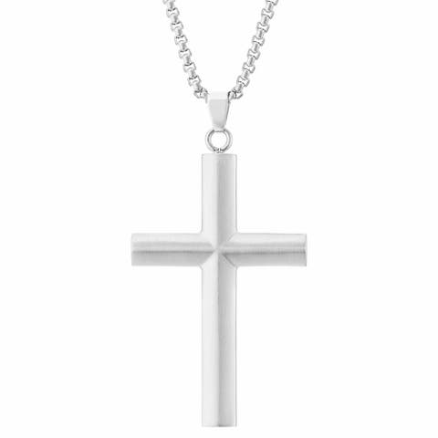 Stainless Steel Men's Cross Pendant Necklace