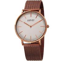 August Steiner Men's Quartz Easy-to-Read Stainless Steel Brown Bracelet Watch