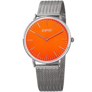 August Steiner Men's Quartz Easy-to-Read Stainless Steel Silver-Tone Bracelet Watch