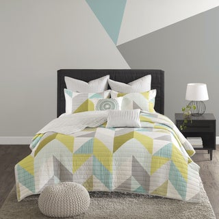 Urban Habitat Parker Aqua Printed 7-piece Coverlet Set