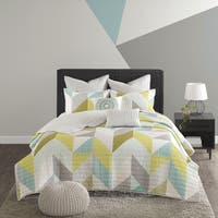 Urban Habitat Parker Aqua Cotton Printed 7-piece Coverlet Set
