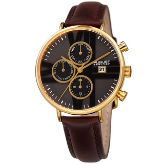 August Steiner Swiss Quartz Multifunction Dual-Time Leather Brown Strap Watch