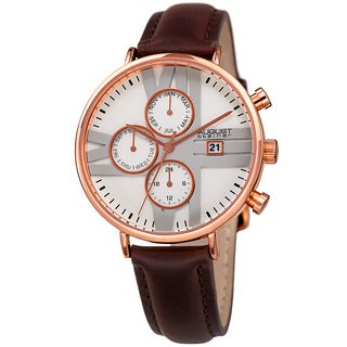 August Steiner Swiss Quartz Multifunction Dual-Time Leather Rose-Tone Strap Watch