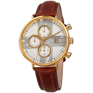 August Steiner Swiss Quartz Multifunction Dual-Time Leather Gold-Tone Strap Watch