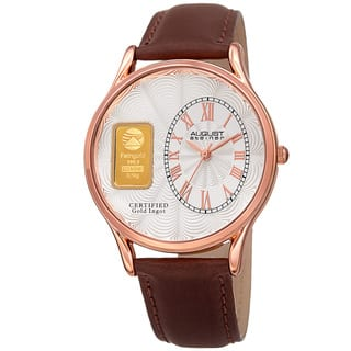 August Steiner Men's Quartz Gold Luxury Leather Brown Strap Watch with FREE GIFT|https://ak1.ostkcdn.com/images/products/12251068/P19092614.jpg?impolicy=medium