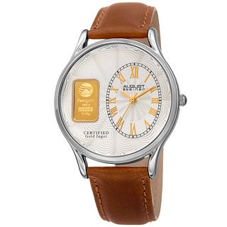 August Steiner Men's Quartz Gold Luxury Leather Tan Strap Watch