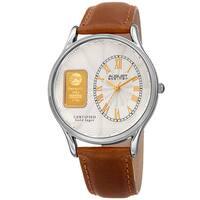 August Steiner Men's Quartz Gold Luxury Leather Tan Strap Watch