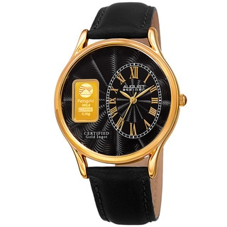 August Steiner Men's Quartz Gold Luxury Leather Black Strap Watch