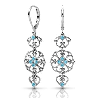 Sterling Silver Earrings by Lucia Costin Aquamarine Swarovski Crystals
