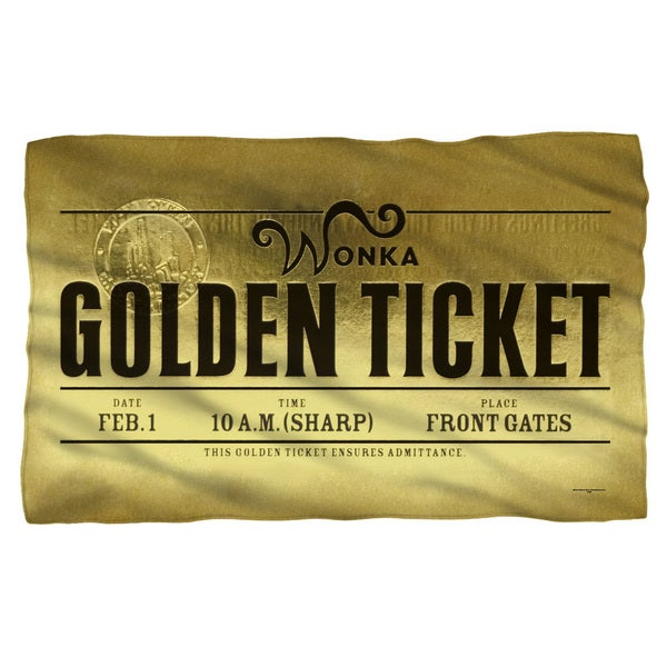 Charlie and The Chocolate Factory/Golden Ticket Fleece Blanket in White