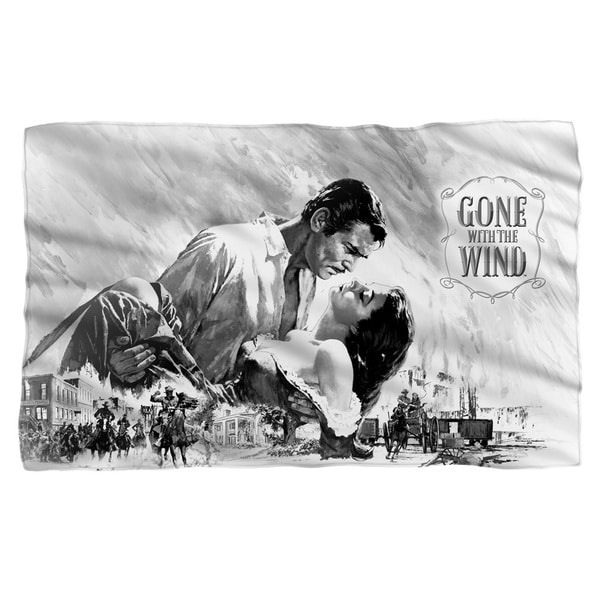 Gone With The Wind/Bw Poster Fleece Blanket in White