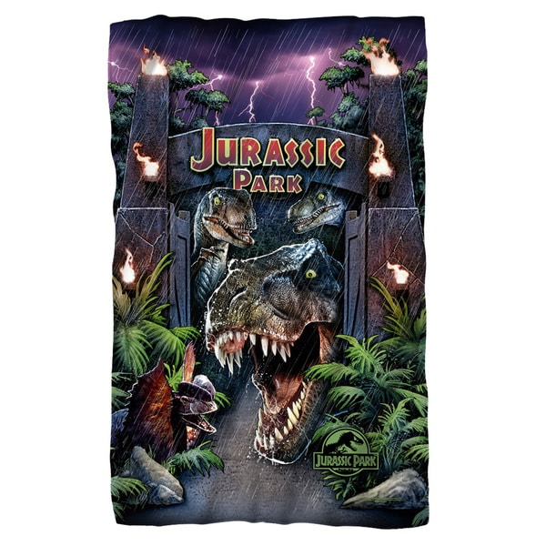 Jurassic Park/Welcome To The Park Fleece Blanket in White