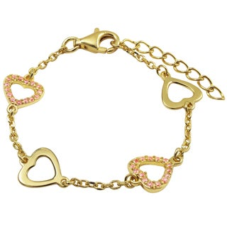 Gold Finish Sterling Silver Pave Pink Cubic Zirconia Heart Children's Bracelet