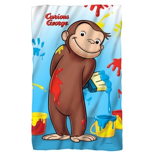 Curious George/Paint Fleece Blanket in White