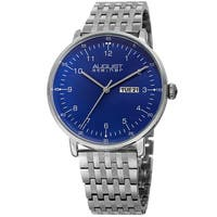 August Steiner Men's Classic Quartz Easy-to-Read Stainless Steel Silver-Tone Bracelet Watch