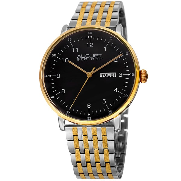 August Steiner Men's Classic Quartz Easy-to-Read Stainless Steel Two-Tone Bracelet Watch