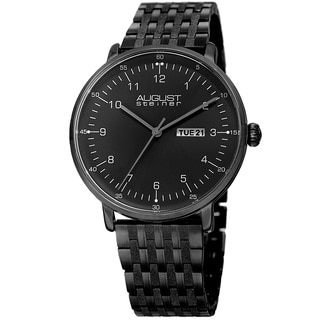 August Steiner Men's Classic Quartz Easy-to-Read Stainless Steel Black Bracelet Watch