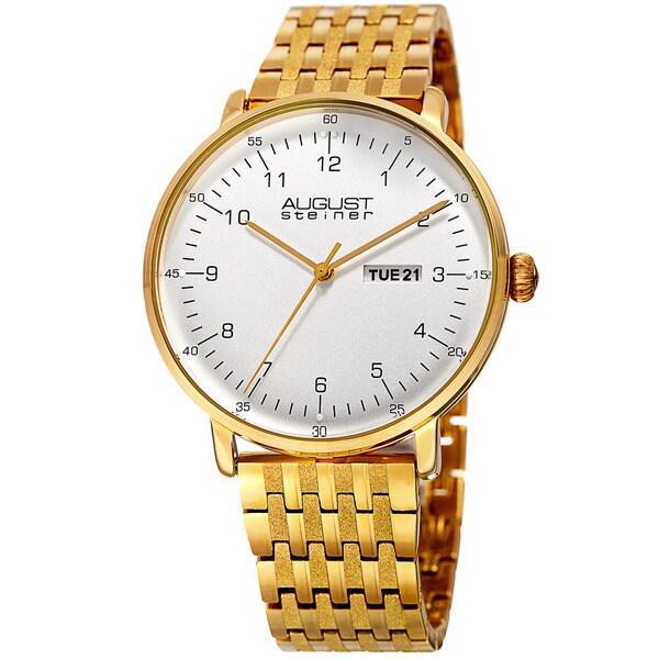August Steiner Men's Classic Quartz Easy-to-Read Stainless Steel Gold-Tone Bracelet Watch