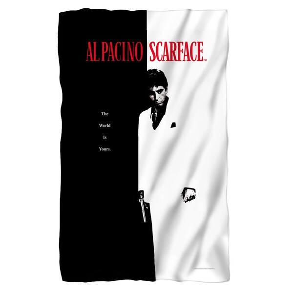Scarface/Poster Fleece Blanket in White