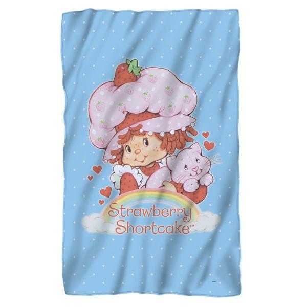 Strawberry Shortcake/Rainbow Fleece Blanket in White
