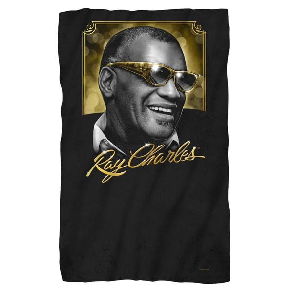 Ray Charles/Golden Glasses Fleece Blanket in White