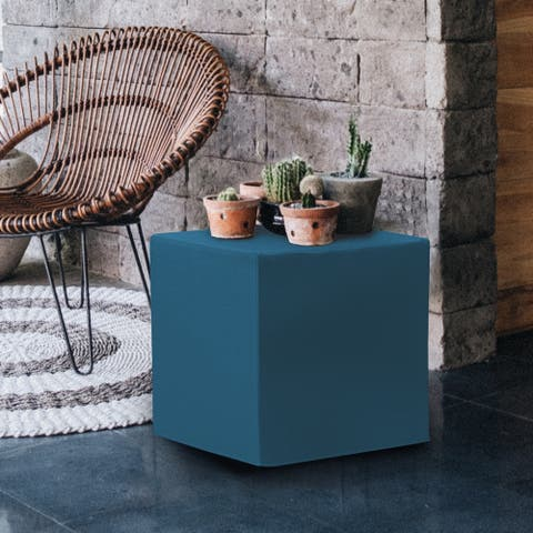 No Tip Block Ottoman with Cover, Seascape Turquoise