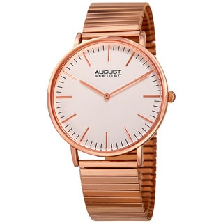 August Steiner Men's Classic Quartz Stainless Steel Rose-Tone Bracelet Watch